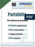 Portafolio de Matemática  1ro de Antonella Zicarelli D´Cesare  Ccesa007