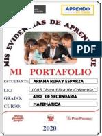 Portafolio de Matematica 4to Ariana Rupay Esparza Ccesa007