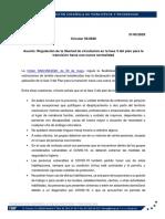 Circular 56-2020, sobre Regulación de la libertad de circulación en la fase 3
