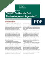 CA Legislative Analyst's Report On; Redevelopment Agencies (January, 2011)