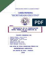 IMPORTANCIA DE LA COMUNICACION EXTRAVERBAL EN LA ATENCION AL CLIENTE