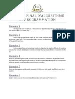 Examen Final d'Algorithme et Programmation