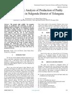 An Economic Analysis of Production of Paddy (Oryza Sativa) in Nalgonda District of Telangana