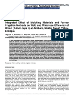 Integrated Effect of Mulching Materials and Furrow Irrigation Methods on Yield and Water use Efficiency of Onion (Allium cepa l.) at Amibara, Middle Awash Valley, Ethiopia