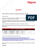 Bulletin aux Dealers - Invitation à la formation ''Pré-installation Apps Digicel''_Aout 2020
