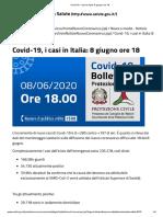 Covid-19, i casi in Italia_ 8 giugno ore 18