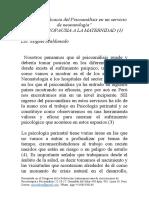 Vigencia y Eficacia Del Psicoanálisis en Un Servicio de Neonatología