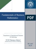 Course Outline Business Mathematics 2020 NUST