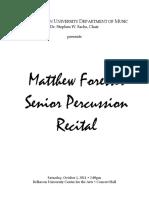 MatthewForesterSeniorPercussionRecital10-1-11