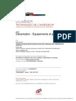 Décantation -Equipements et procédés-