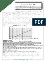 Devoir de Synthèse N°1 - Sciences physiques - Bac Informatique (2013-2014) Mr rhida slimi