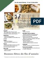 Menus de La Cuisine de Meme Moniq Du 19 Au 25 Decembre