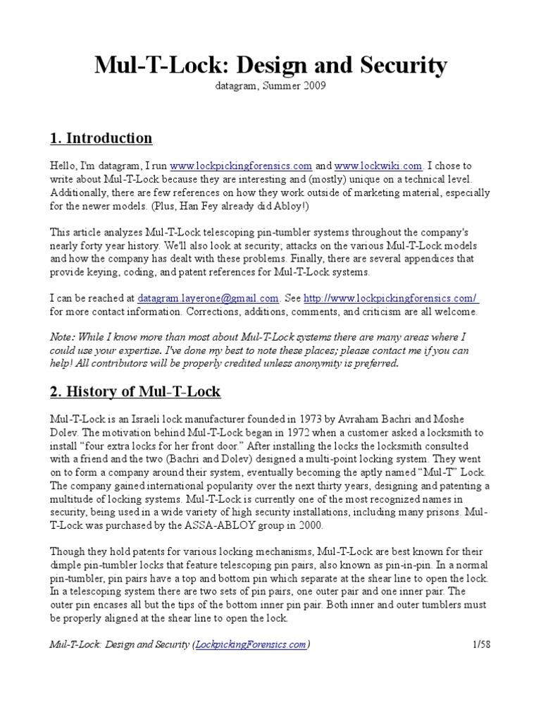 mul_t_lock | Lock (Security Device) | Security Technology