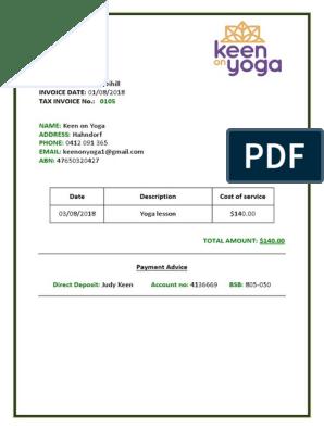 Simple Yoga Invoice Template Pdf