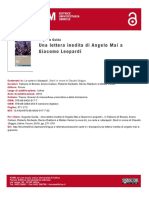 Una lettera inedita di Angelo Mai a Giacomo Lepoardi