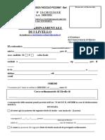 Modulo iscrizione studenti part-time I livello 2020-21