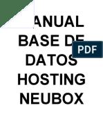 MANUAL BASE DE DATOS HOSTING NEUBOX