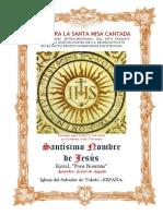 Santísimo Nombre de Jesús. Guía de los fieles para la santa misa cantada. Kyrial Fons Bonitatis y Angelis
