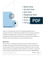 What is Burst time, Arrival time, Exit time, Response time, Waiting time, Turnaround time, and Throughput_