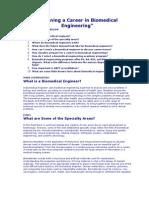 Planning a Career in Biomedical Engineering