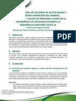INSTRUCTIVO ACCIONES DE AUTOCUIDADO Y BIOSEGURIDAD - COVID 19 INGRESO A SEDES
