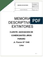 Memoria Descriptiva de Extintores