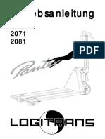 Hubwagen-Betriebsanleitung