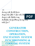 Generator construction, Opn n cooling system
