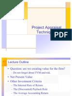 Project Appraisal Techniques