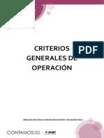 Criterios Generales de Operación del Concurso Nacional de Testimonios 2017-2018