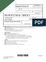 IGCSE ICT MCQ  Mock 1