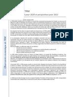 Les coûts du TRM - Simulation covid pour 2020  - Perspectives pour 2021