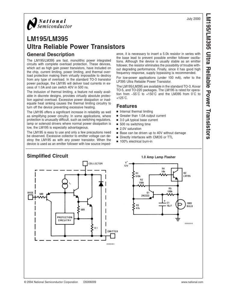 tranzistoare apl lm195 transistor amplifierLamp Flasher Using Lm395 #6