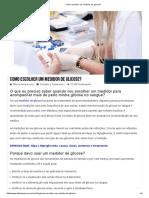 Como escolher um medidor de glicose_