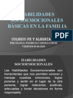 HABILIDADES SOCIOEMOCIONALES BASICAS EN ÑA FAMILIA. 1ERA. ESCUELA DE PADRES 5-4-19