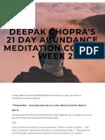 Deepak Chopra's 21 Day Abundance Meditation course - WEEK 2 — The Village Foundation