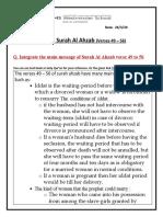 1. Worksheet - Surah Al Ahzab - Main message Grade 11