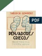 GOMPERZ THEODOR - Pensadores Griegos - Libro 1