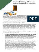ARTICULO 1 ¿Por qué un Nutriologo necesita conocer de interacción farmaco-nutriente