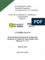 04-Determinación Experimental de la Rugosidad Absoluta ks en Tuberías de Agua Potable UP