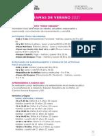 Cronograma de Ciudad en Movimiento - Verano 2021