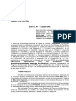Edital N° 113-2020 - Normatização e Abertura de Inscrições