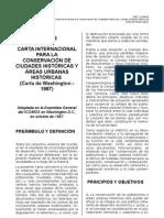 Carta internacional para la conservación de ciudades históricas  y áreas urbanas históricas. 1987, ICOMOS, Carta de Washington