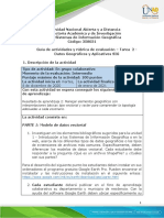 Guia de actividades y Rúbrica de evaluación - Tarea 2 - Datos Geográficos y Aplicativos SIG