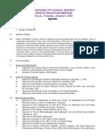 Watertown City School District Board of Education agenda Jan. 5, 2021