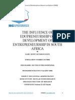 THE INFLUENCE OF EDUPRENEURSHIP ON DEVELOPMENT OF ENTREPRENEURSHIP IN SOUTH AFRICA