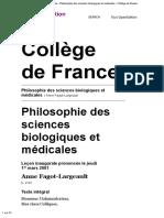 FAGOT-LARGEAULT, 2001, Leçon inaugurale - Philosophie des sciences biologiques et médicales