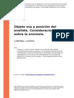 Lutereau, Luciano (2016). Objeto voz y posicion del analista. Consideraciones sobre la anorexia