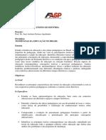 TENDÊNCIAS DA EDUCAÇÃO NO BRASIL (Plano de ensino)