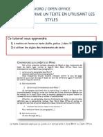 Word et Open Office - Mettre en Forme Un Texte en Utilisant Les Styles